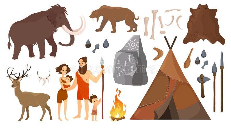 Vektorillustration von Steinzeitalterleuten mit den Elementen für das Leben, Werkzeuge jagend Ursprünglicher Neanderthal Leutefam lizenzfreie abbildung