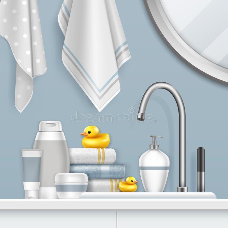 Vektorillustration von Tüchern und von Badensatz auf Regal mit gelber Ente im Badezimmer lizenzfreie abbildung