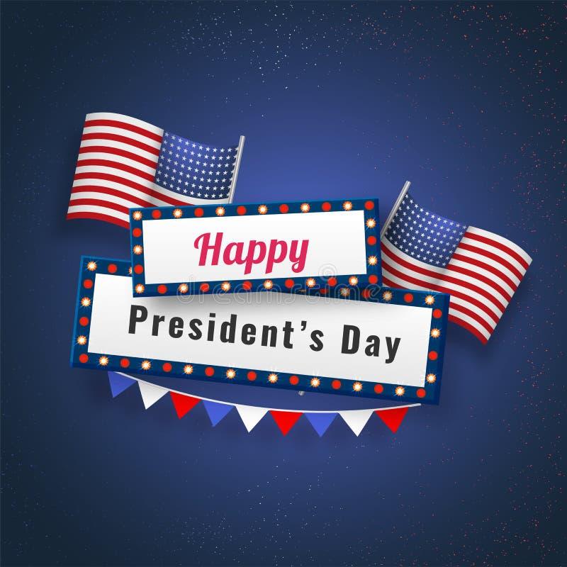 Vektorillustration von USA-Staatsflaggen und von Festzeltlichtrahmen mit Typografie von Day glücklichen Präsidenten lizenzfreie abbildung