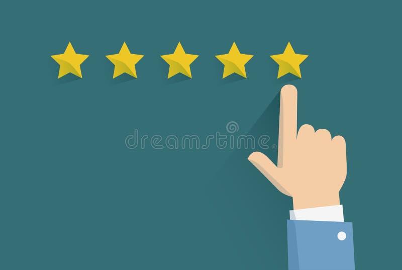 Vektorillustration von veranschlagenden Services eigenhändig des Kunden, der Sterne bedrängt Kunden-Erfahrungs-Konzept Von Hand g stock abbildung