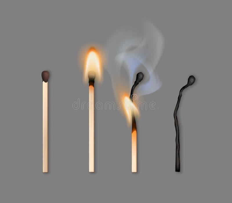 Vektorillustration von verschiedenen Phasen des brennenden Matches lokalisiert auf Hintergrund stock abbildung