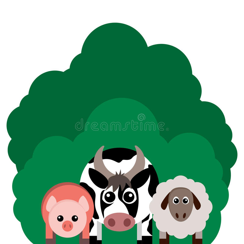 Vektorillustration von Vieh Kuh, Schaf, Schwein lizenzfreie abbildung