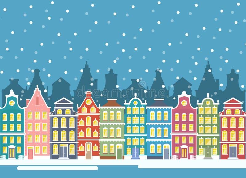 Vektorillustration von Winterstadthäusern in der Weihnachtszeit Städtische Landschaft des Winters Amsterdam-Häuser, baner flach stock abbildung