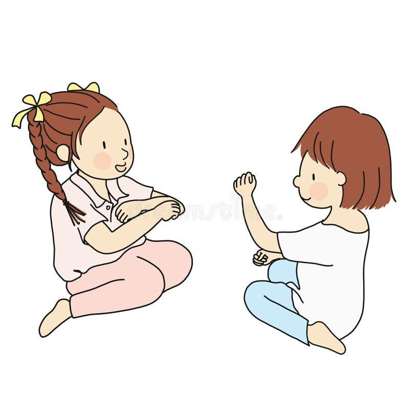 Vektorillustration von zwei Kleinkindern, die Rock, Papier spielen, Scissors Spiel Tätigkeit der frühkindlichen Entwicklung, Freu lizenzfreie abbildung