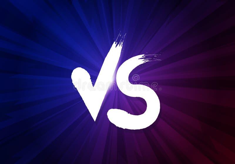 Vektorillustration VS bokstäver på mörk bakgrund Kontra affischsymboler av konfrontation royaltyfri illustrationer