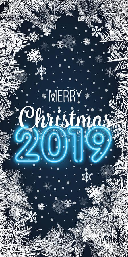 Vektorillustration Weihnachten und guten Rutsch ins Neue Jahr Unscharfer blauer Hintergrund Fallender Schnee tapete 2019 2018 Bes lizenzfreie abbildung