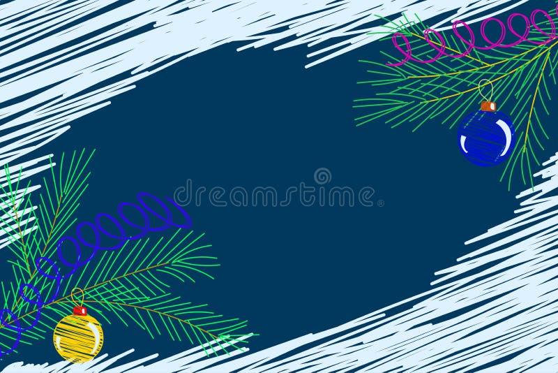 Vektorillustration, Weihnachtsbaumast mit Ball des neuen Jahres auf einem blauen Hintergrund vektor abbildung