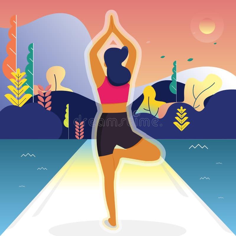 Vektorillustration - yogaflicka Konditiontecken parkerar på landskapbakgrund Sunt liv för övningsfolk Baner plats, vektor illustrationer