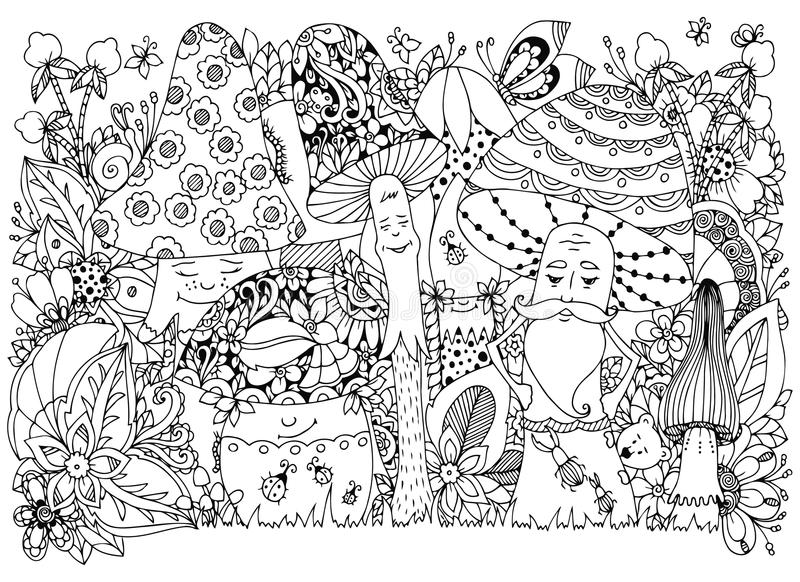 Vektorillustration Zen Tangle av champinjoner i skogtecknade filmen, klotter som är blom- Anti-spänning för färgläggningbok för v vektor illustrationer