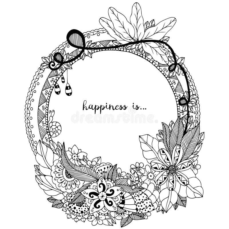 Vektorillustration Zen Tangle, klotterrundaram med blommor, mandala Anti-spänning för färgläggningbok för vuxna människor Svart v royaltyfri illustrationer
