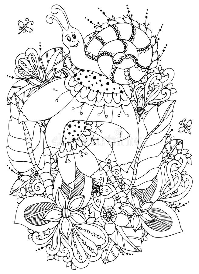 Vektorillustration Zen Tangle Snail auf Blumen Vektor ENV 10 Malbuchantidruck für Erwachsene Schwarzes Weiß stock abbildung