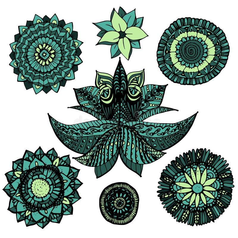 Vektorillustration zentangle openwork Mandala kritzelt Satz in den blauen und grünen Farben mit den Blumen, die auf weißem Hinter vektor abbildung