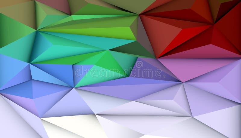 Vektorillustration Zusammenfassung 3D geometrische, polygonale, Dreieckmusterform und mehrfarbiges, Blaues, Purpurrotes, Gelbes u stock abbildung