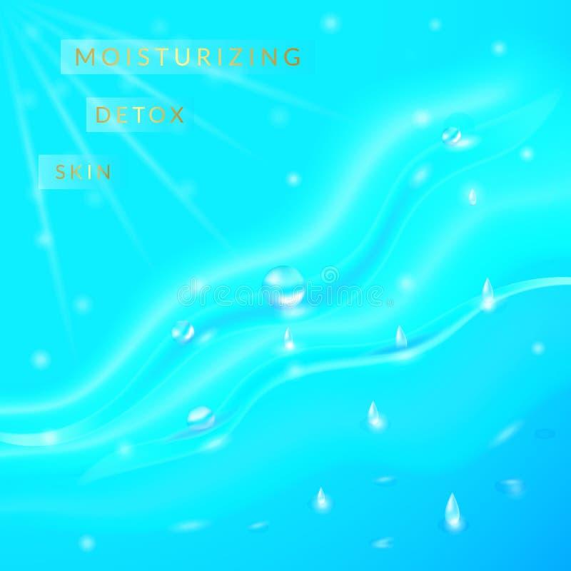 Vektorillustrationbakgrund med flöden och droppar av kristallklart vatten av ljus - slösa, turkosfärg royaltyfri illustrationer