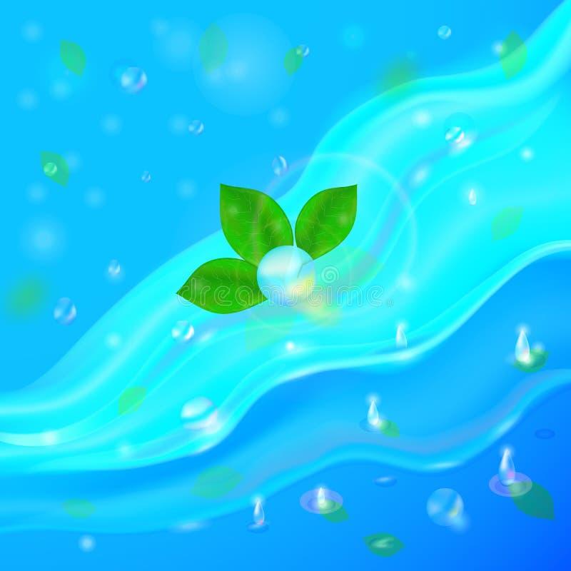 Vektorillustrationbakgrund med flöden och droppar av kristallklart vatten av ljus - slösa, turkosfärg vektor illustrationer