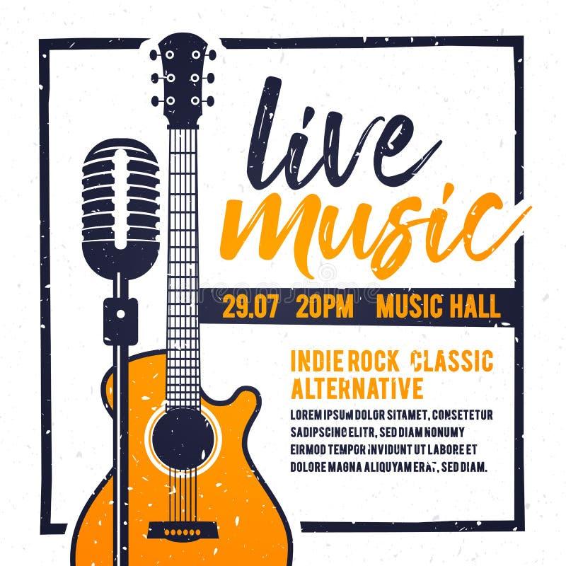 Vektorillustrationbaner eller affisch för festival för levande musik med den orange gitarren i retro stil stock illustrationer