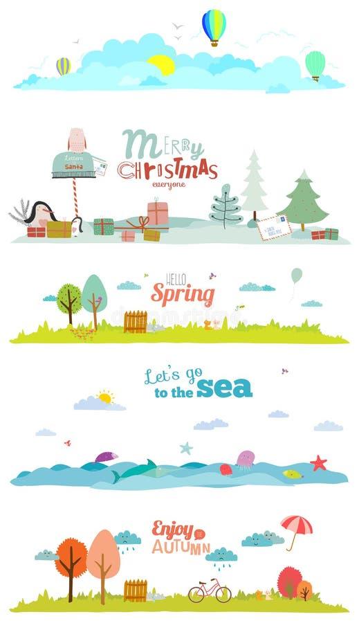 Vektorillustrationbaner för turism eller läger stock illustrationer