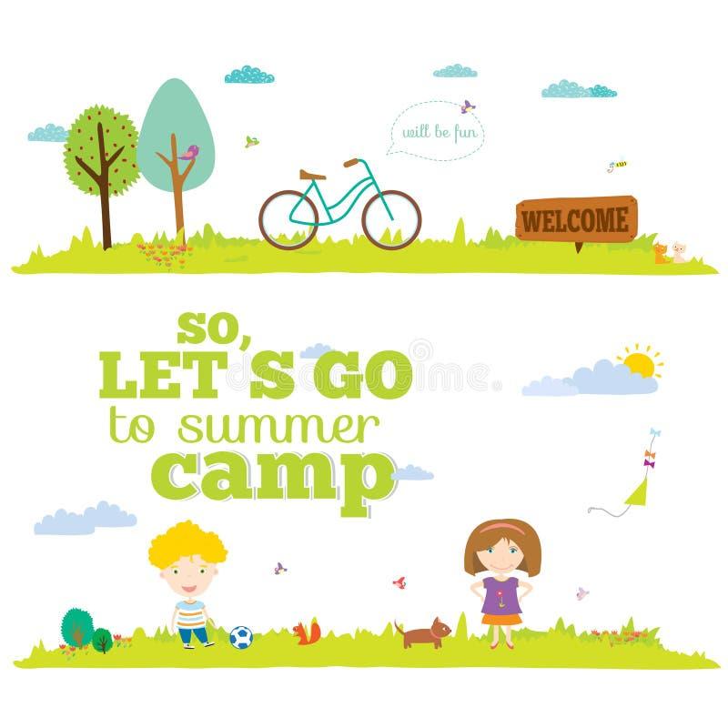 Vektorillustrationbaner för turism eller läger royaltyfri illustrationer