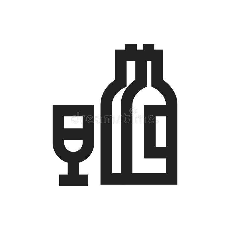 Vektorillustrationbegrepp av alkoholsymbolsymbolen wine för flaskexponeringsglas - uppsättning av isolerade vektorsymboler vektor illustrationer