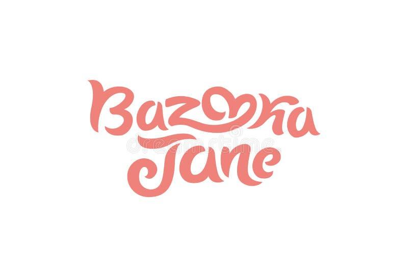 Vektorillustrationbegrepp av en bazookaJane logo Bokstäver på vit bakgrund stock illustrationer