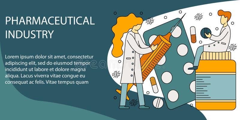 Vektorillustrationbegrepp av farmaceutisk bransch royaltyfri illustrationer