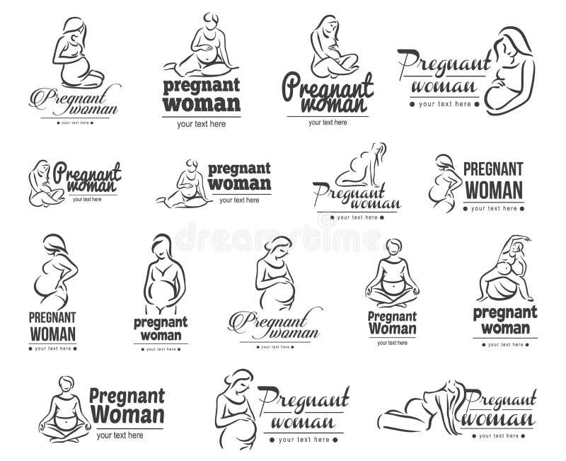 Vektorillustrationbegrepp av gravid yoga isolerad objektwhite för bakgrund 3d symbol royaltyfri illustrationer