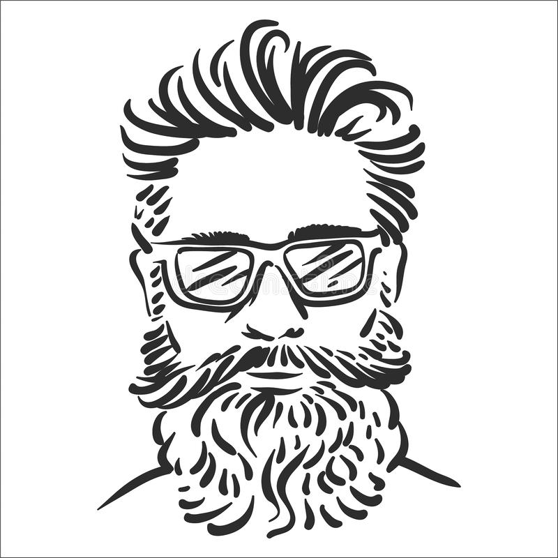 Vektorillustrationbegrepp av Hipsterlinjen konstillustration på vit bakgrund stock illustrationer