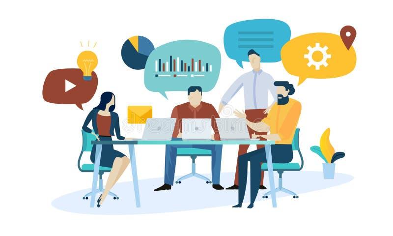 Vektorillustrationbegrepp av marknadsforskning, seo, affärsanalys, strategi, digital marknadsföring, teamwork vektor illustrationer