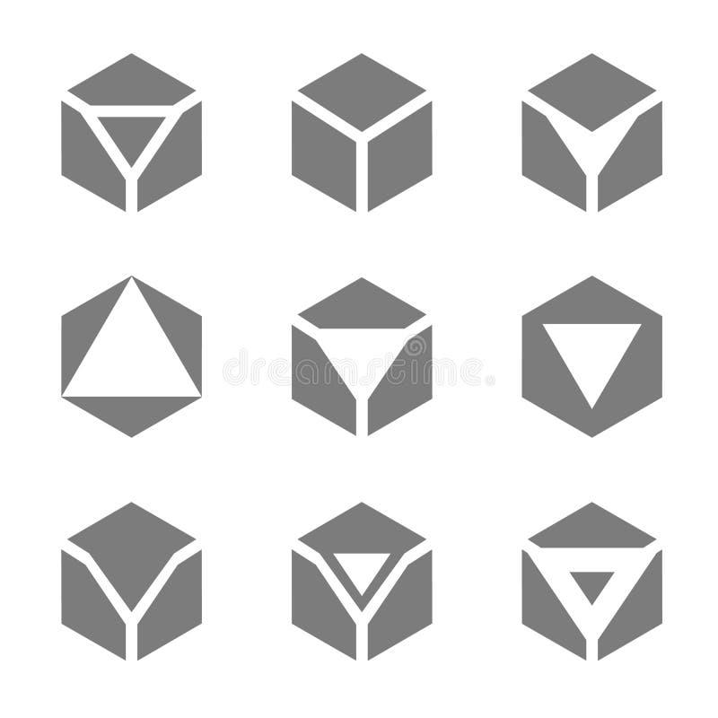 Vektorillustrationbegrepp av pentagonlogoen isolerad objektwhite för bakgrund 3d symbol royaltyfri illustrationer