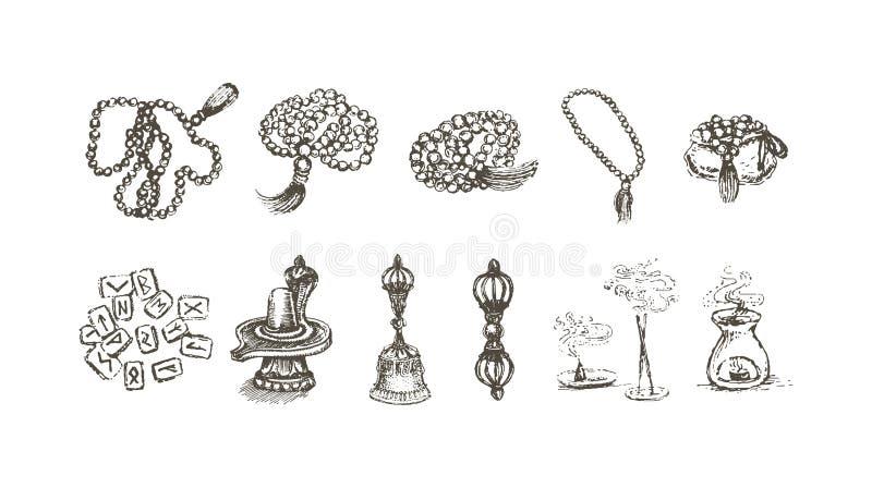 Vektorillustrationbegrepp av religionen och den esoteriska objektsymbolen - uppsättning av isolerade vektorsymboler stock illustrationer