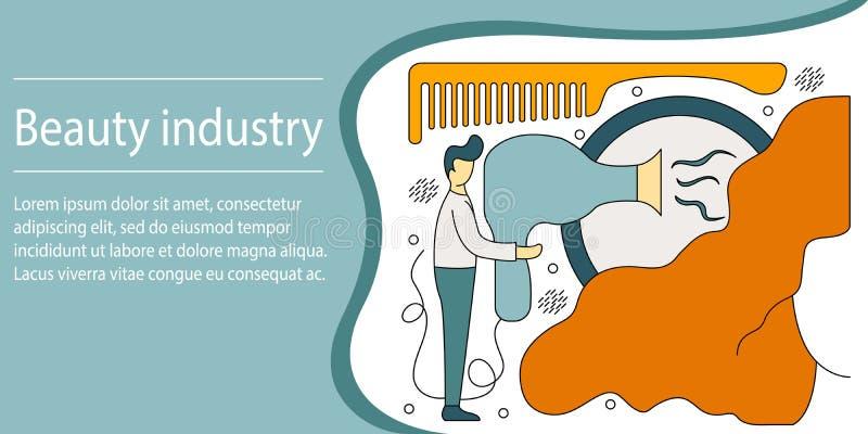 Vektorillustrationbegrepp av skönhetbransch Idérik lägenhet royaltyfri illustrationer