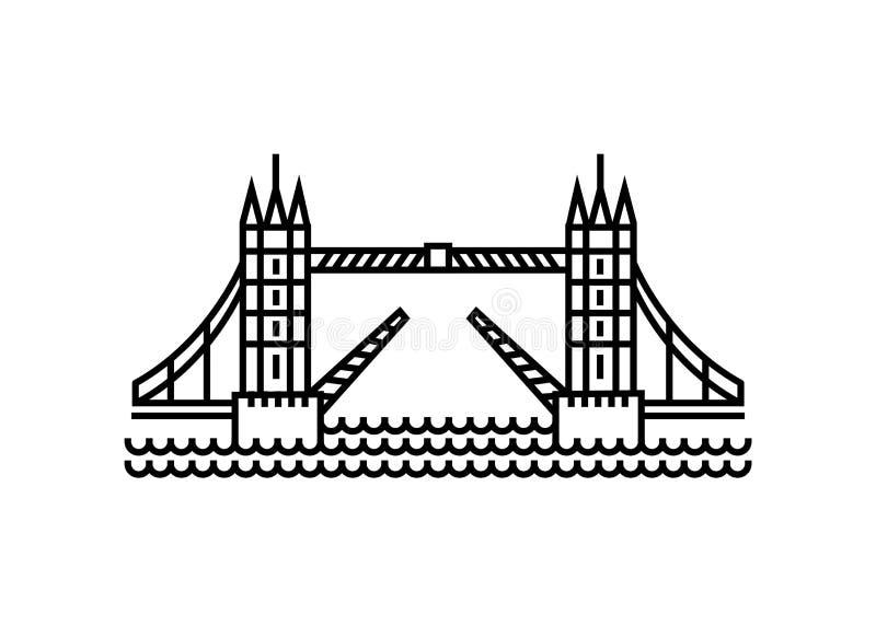 Vektorillustrationbegrepp av tornbrosymbolen - uppsättning av isolerade vektorsymboler stock illustrationer