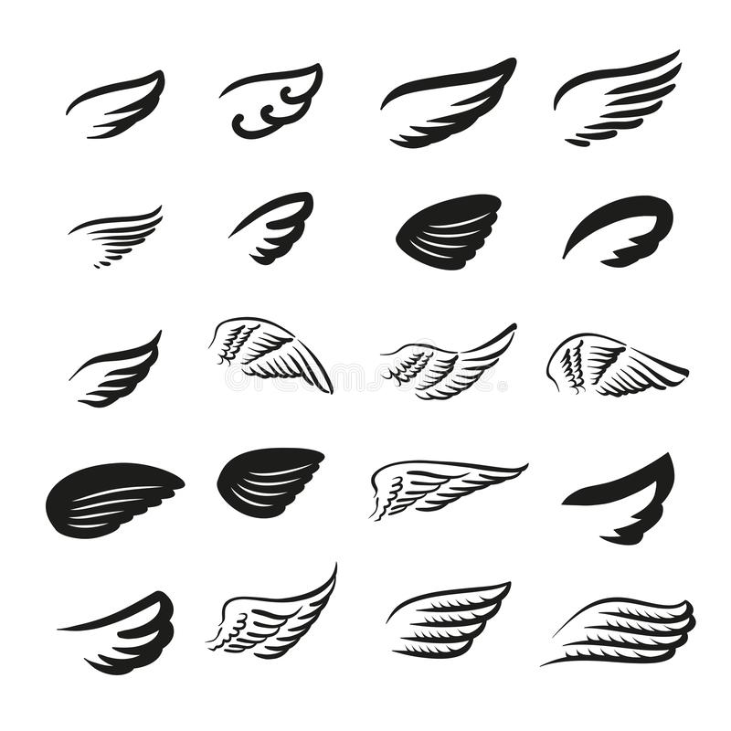 Vektorillustrationbegrepp av vinglogoen isolerad objektwhite för bakgrund 3d symbol royaltyfri illustrationer