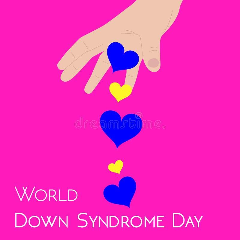 Vektorillustrationbegrepp för den världsDown Syndrome dagen med hjärta som kastar blåa och gula hjärtor royaltyfri illustrationer