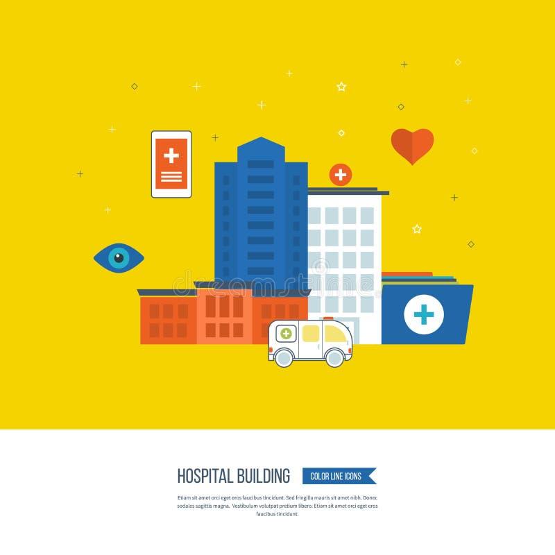 Vektorillustrationbegrepp för sjukvården, medicinsk hjälp, sjukhusbyggnad ambulant vektor illustrationer