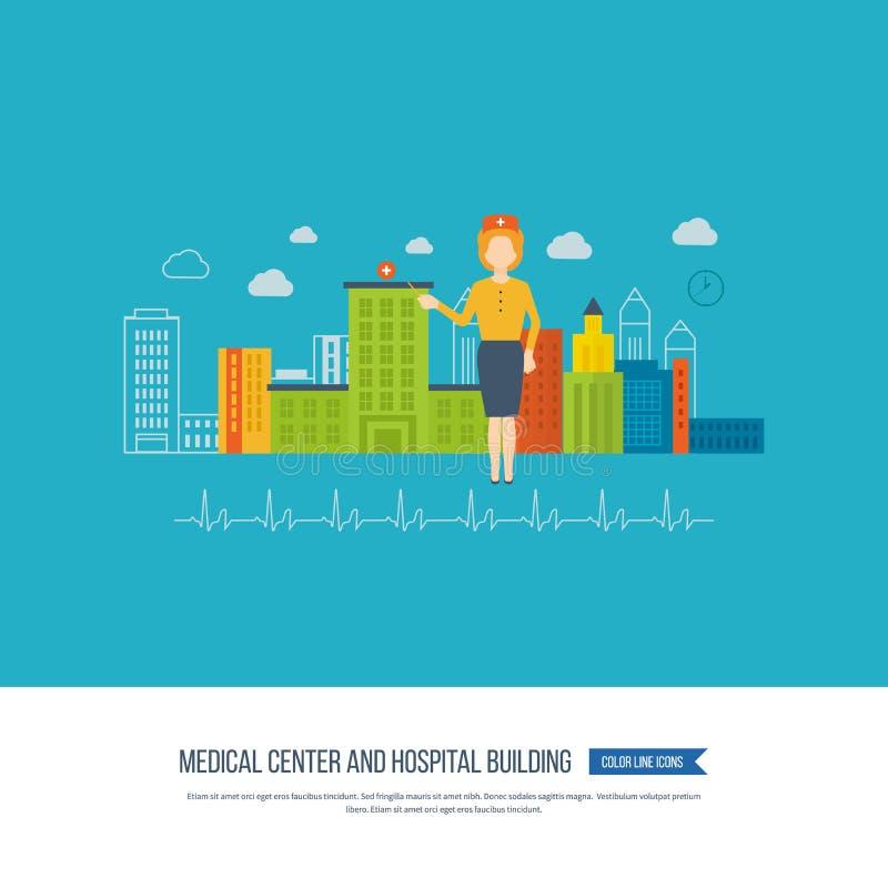 Vektorillustrationbegrepp för sjukvården, medicinsk hjälp, sjukhusbyggnad ambulant royaltyfri illustrationer