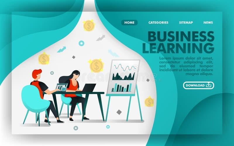 Vektorillustrationbegrepp Grönt Websitebaner om att lära för affär, arbetare att lära om diagram och försäljningstillväxt Passand royaltyfri illustrationer
