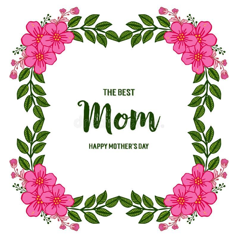 Vektorillustrationbokstäver älskar jag dig mamman med rosa blommaramblom royaltyfri illustrationer