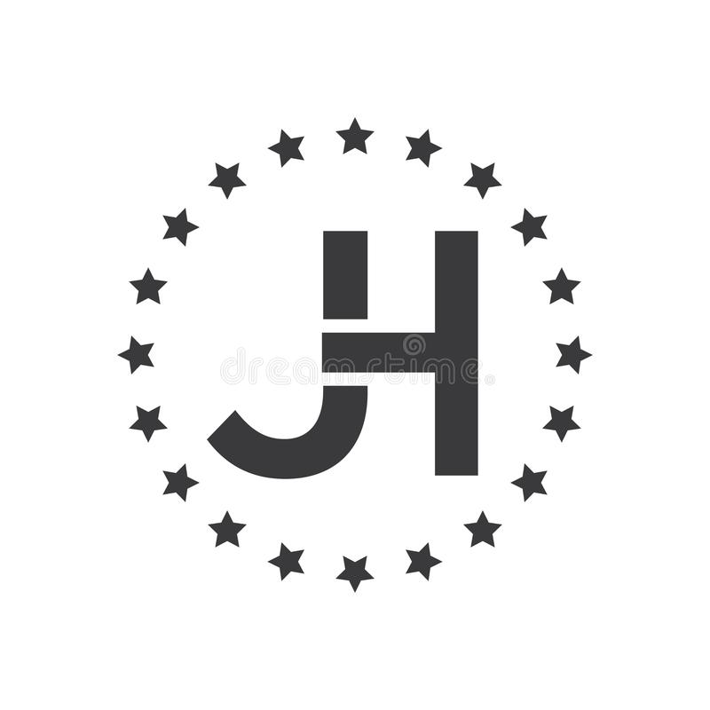 Vektorillustrationbokstav j och H-logo med den runda stjärnan märka logovektorn stock illustrationer