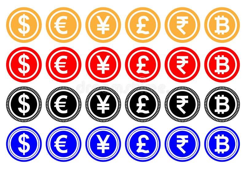 Vektorillustrationdollar, euro, yuan eller yen, pund, indisk rupie, bitcoin Cryptocurrency Kasinolek vektor illustrationer