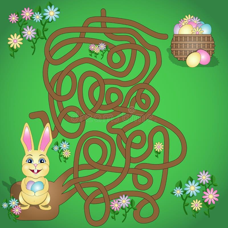 Vektorillustrationen är en rolig labyrintlek för ungar Hjälp påskkaninen för att finna hans korg royaltyfri illustrationer