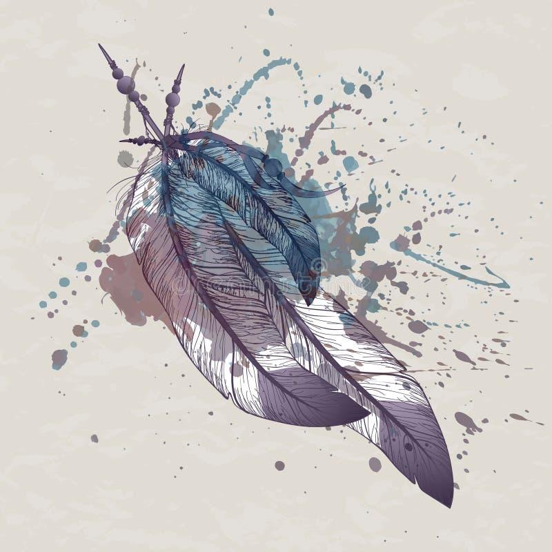 Vektorillustrationen av örnen befjädrar med vattenfärgfärgstänk vektor illustrationer
