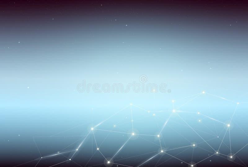 Vektorillustrationen av abstrakt begreppblått gör mellanslag bakgrund med förbindande belysningprickar och linjer royaltyfri illustrationer