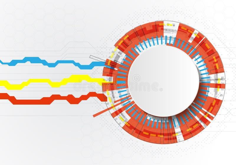 Vektorillustrationen av abstrakta molekylar och begreppet för kommunikationsteknologi med etikettcirklar för papper 3D planlägger royaltyfri illustrationer