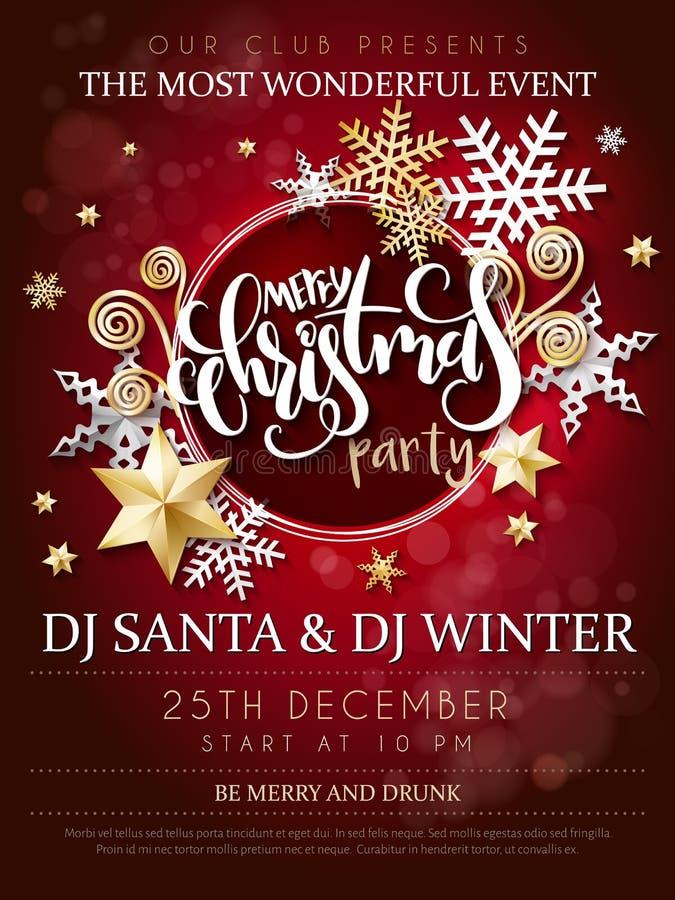 Vektorillustrationen av affischen för julpartiet med handbokstäveretiketten - jul - med stjärnor, mousserar, snöflingor stock illustrationer