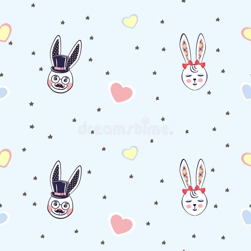 Vektorillustrationen av bakgrund med små kaniner heads bland stjärnor gå i ax länge för mode, papper, rengöringsduk stock illustrationer