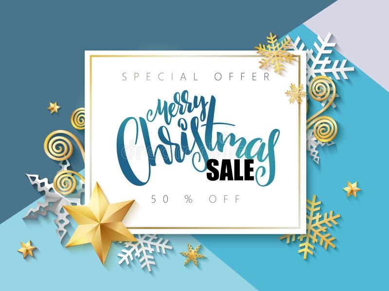 Vektorillustrationen av banret med handbokstäveretiketten - försäljning för glad jul - med stjärnor, mousserar, snöflingor och royaltyfri illustrationer