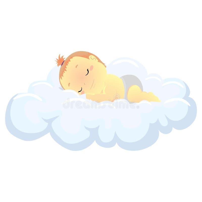 Vektorillustrationen av behandla som ett barn att sova i molnet royaltyfri illustrationer