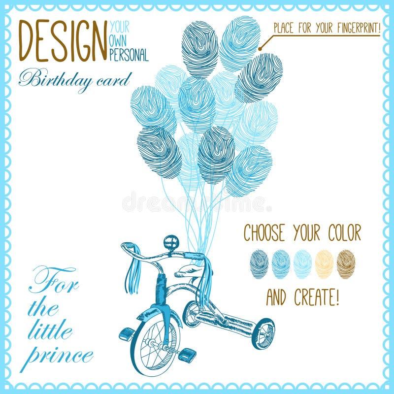 Vektorillustrationen av behandla som ett barn cykeln för pojke royaltyfri illustrationer