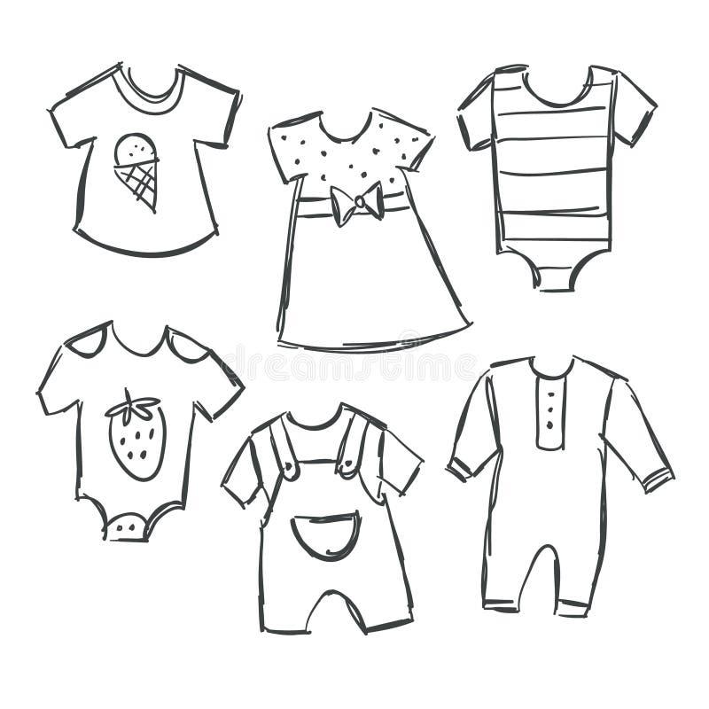 Vektorillustrationen av behandla som ett barn klädersamlingen stock illustrationer